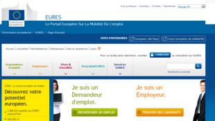 Capture d'écran de la page d'accueil du site EURES.