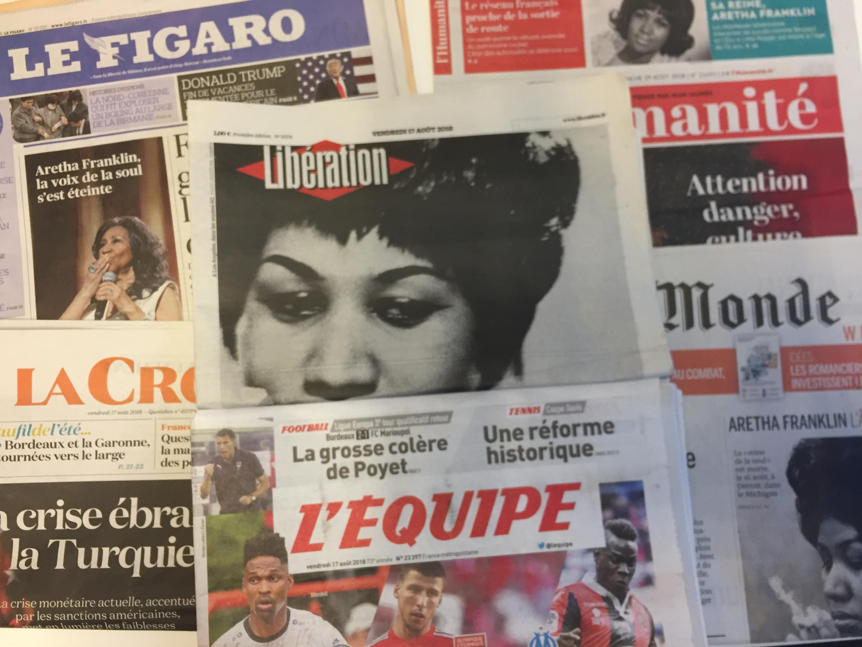 Primeiras páginas dos jornais franceses de 17 de agosto de 2018