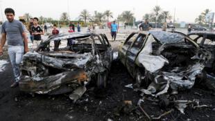 """انفجار خودروی بمبگذاری شده در """"صدرسیتی""""، در محلی که به خرید و فروش خودرو اختصاص داشت بوقوع پیوست. ۲۴ مرداد/ ١۵ اوت ٢٠١۵"""