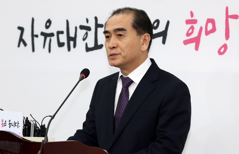 朝鲜前驻英公使太永浩Thae Yong Ho宣布代表自由韩国党参选下届韩国议员2020年2月11日首尔