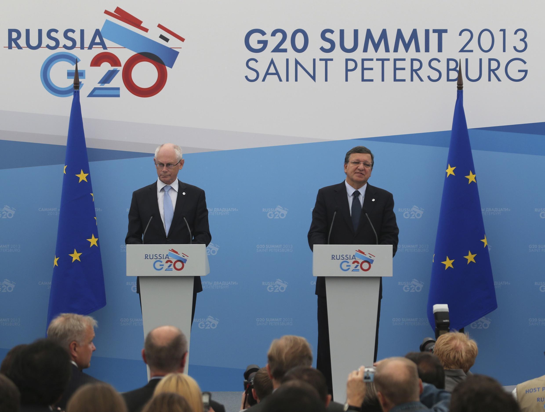 Херман ван Ромпей и Жозе Мануэл Баррозу во время брифинга на G20 в Санкт-Петербрурге 05/09/2013