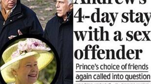 Bài viết trên một tờ báo Anh về cáo buộc Hoàng tử Andrew lạm dụng tình dục người vị thành niên.