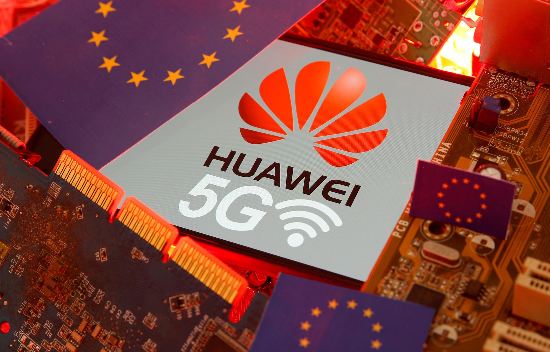 华为5G与欧盟旗帜示意图