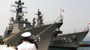 Hai chiến hạm Uraga và Takashima của Nhật ghé thăm cảng Cam Ranh ngày 12/04/2016.