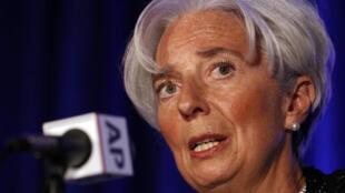 Christine Lagarde, diretora-gerente do FMI, discursa no encontro anual da Associated Press, em Washington.