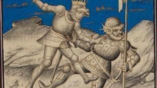 """""""Combat d'Arthur et du géant du Mont-Saint-Michel"""" par Vincent de Beauvais (Bruges, vers 1455)"""