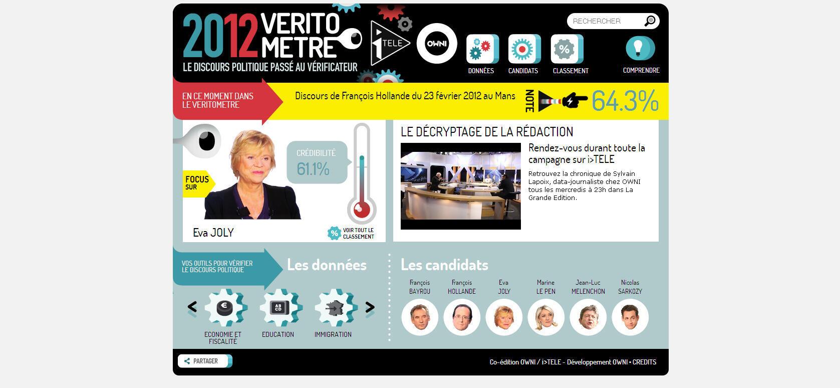 Le véritomètre, l'une des deux applications, proposé par I>Télé et Owni pour éclairer les français dans cette campagne présidentielle.