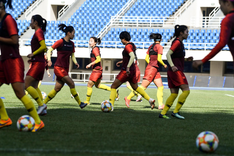 Bức ảnh chụp đội tuyển bóng đá nữ Trung Quốc ở Bắc Kinh, ngày 20/05/2019.