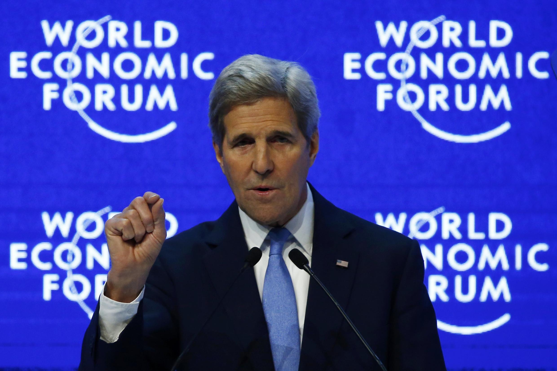 Secretário  de Estado americano, John Kerry. Davos, 22 de Janeiro 2016
