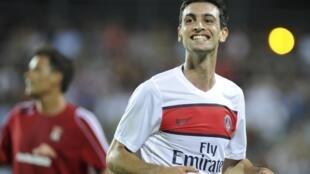 Sourire de Javier Pastore, victorieux 4-0 pour son premier match avec le PSG.