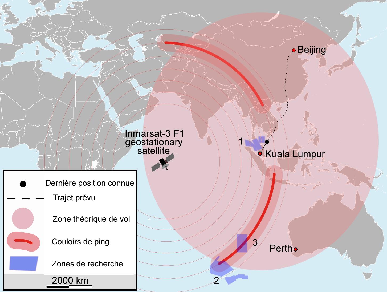 ផែនទីបង្ហាញពីកន្លែងរុករកខ្មោចយន្តហោះ MH370.