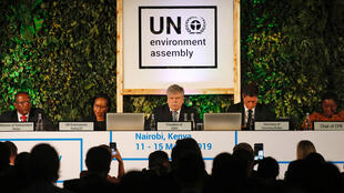 Siim Kiisler, Minister of Environment of Estonia and President of the UN Environment Assembly, flanked by other leaders addresses delegates at the United Nations Environment Assembly (UNEA) within Gigiri in Nairobi, Kenya March 11, 2019