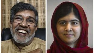 Watanaiwa wa tuzo ya amani ya Nobel mwaka 2014: Kailash Satyarthi, raia wa India mwenye umri wa miaka 60 (kushoto), Malala Yousafzaï, msichana wa Pakistan mwenye amri wa miaka 17 (kulia).
