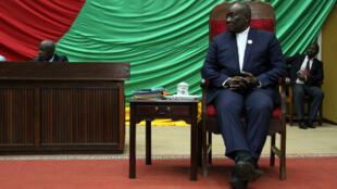 Abdou Karim Meckassoua, alors président de l'Assemblée nationale, lors des débats autour de la motion concernant sa destitution, octobre 2018.