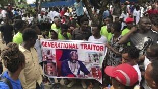 Al'ummar Liberia yayin zanga-zangar kyamar gwamnati.