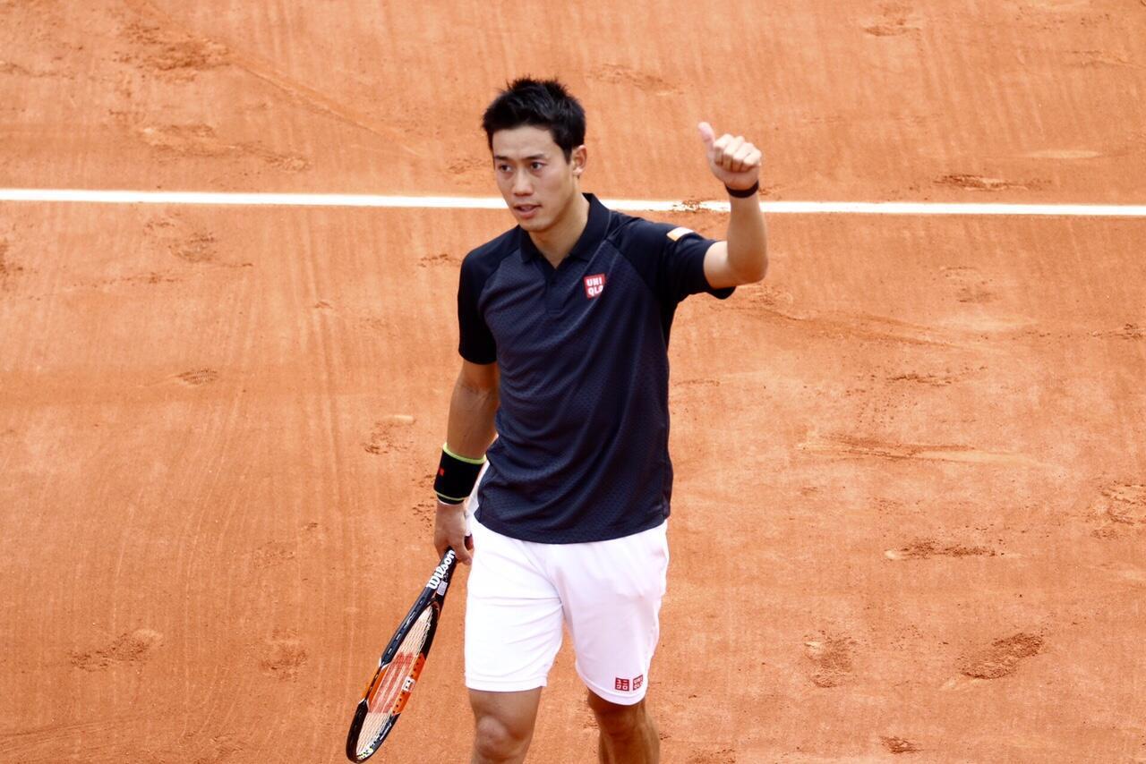 Kei Nishikori at Roland Garros on Tuesday