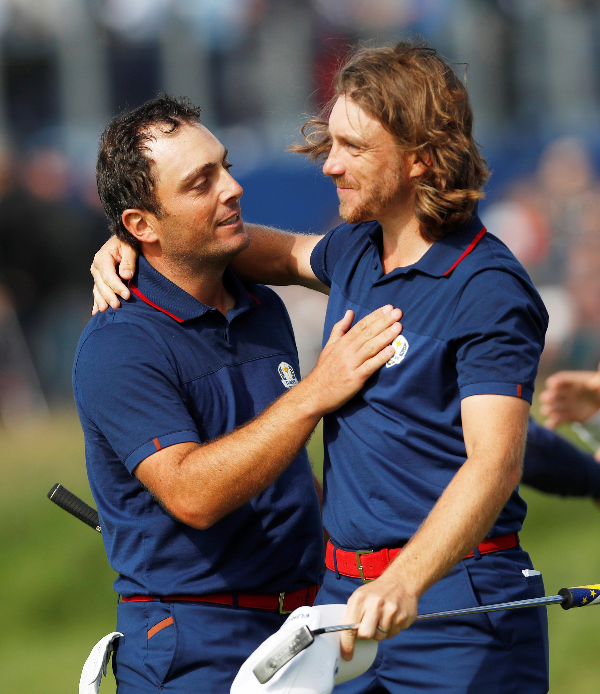 Francesco Molinari (left) and Tommy Fleetwood have claimed victories in all four of their matches at the 2018 Ryder Cup.