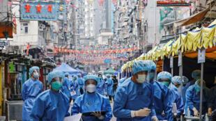因应新冠疫情,港府年初曾采取封区检测行动。摄于2021年1月23日。