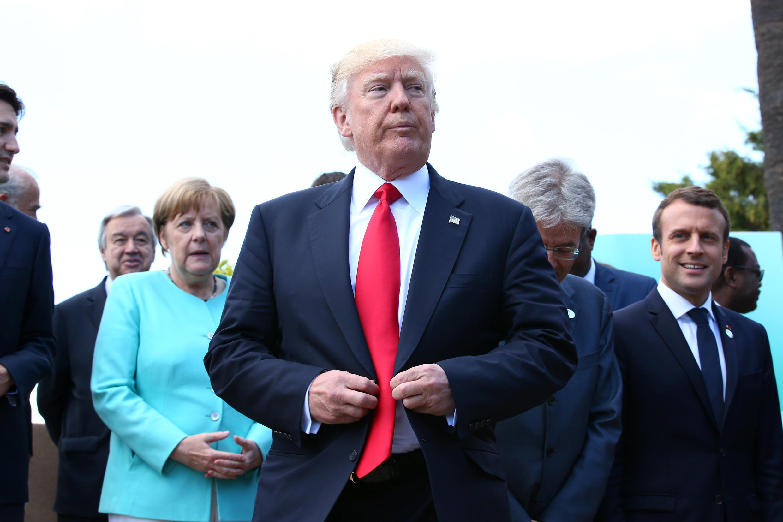 Rais wa Marekani na baadhi ya viongozi wa G7 27 May 2017.