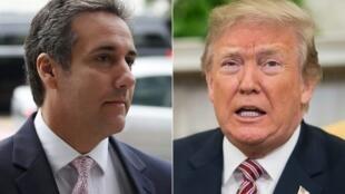 Michael Cohen (à gauche), l'ancien avocat du président des États-Unis, Donald Trump (à droite).