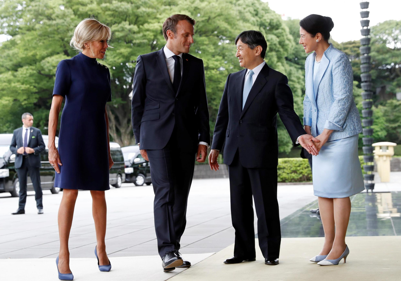 Nhật hoàng Naruhito và hoàng hậu tiếp tổng thống Pháp E. Macron và phu nhân tại Tokyo ngày 27/06/2019.