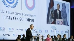 Phòng hội nghị Thượng đỉnh về khí hậu tại Lima, Peru, 12/12/2014.