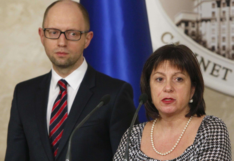 Наталья Яресько и Арсений Яценюк на пресс-конференции в Киеве 11/03/2015