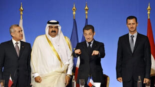 Sommet de l'Union pour la Méditerranée en 2008, de g. à d. : les présidents du Liban, du Qatar et de la Syrie aux côtés de Nicolas Sarkozy.