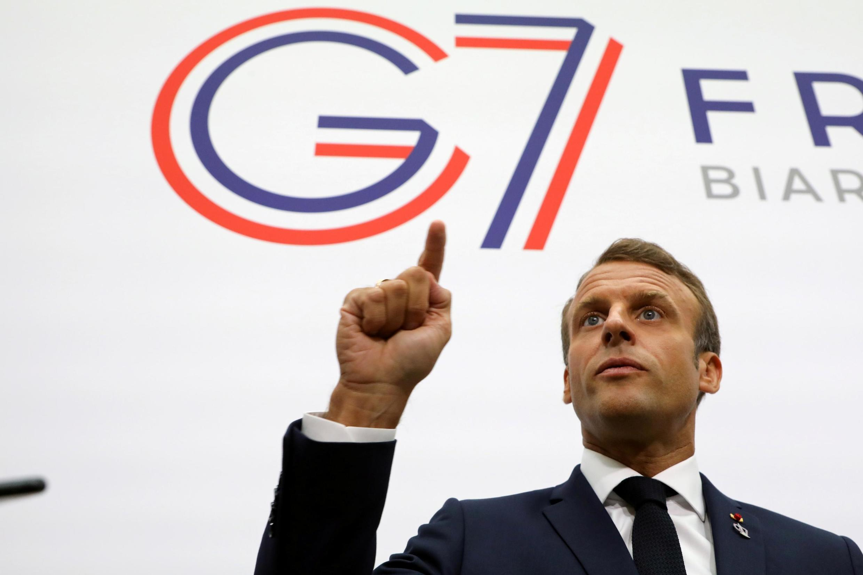 El presidente Macron, Cumbre del G7 en Biarritz.