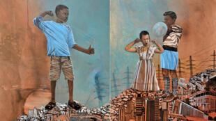 Mariam Aboudiz Souali, « Echos of memory », 2020 - technique mixte sur toile, 150x120cm; 150x120 cm, diptyque ©Mariam Abouzid Souali, Courtesy Galerie Cécile Fakhoury