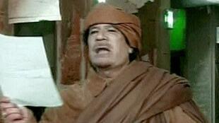 Moamer Kadhafi speaks last month