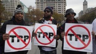 美國華盛頓反TPP示威遊行,2016年11月14日。