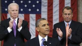 O presidente dos Estados Unidos, Barack Obama, durante discurso no Congresso nesta terça-feira, 12 de fevereiro de 2013.