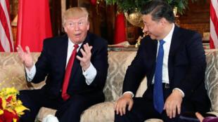 美國總統特朗普與中國國家主席習近平會晤。