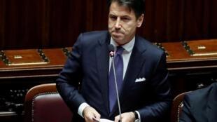 Le président du Conseil italien, Giuseppe Conte, devant la Chambre des député le 9 septembre 2019.