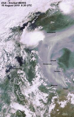 Photo satellite du nuage de fumée en Russie, le 10 août 2010.