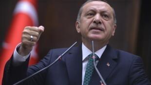 Recep Tayyip Erdogan addresses an election rally