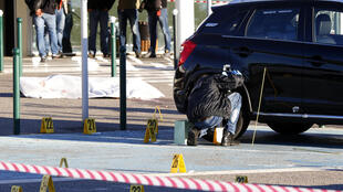 Forensic police near the body of Antoine Quilichini on Tuesday