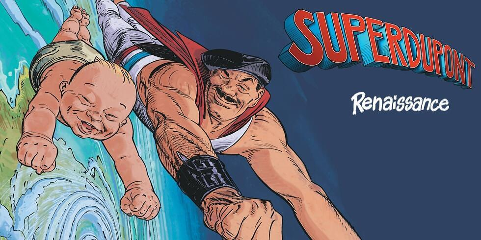 Détail de la couverture «Supertdupont Renaissance», de François Boucq et Marcel Gotlib.