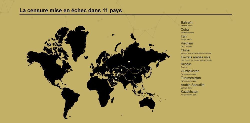 Les treize pays où RSF a débloqué des sites ces deux dernières années.