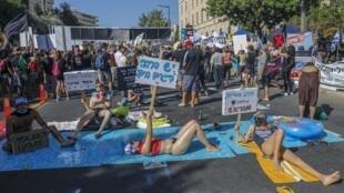 Manifestation contre le Premier ministre israélien Benjamin Netanyahu à l'extérieur de sa résidence officielle à Jérusalem, le 17 juillet 2020.