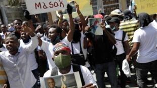 Manifestation à Port-au-Prince le 1er septembre 2020, demandant justice après le meurtre du bâtonnier de la ville Monferrier Dorval.