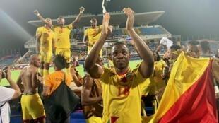 La joie des Écureuils du Bénin qui s'étaient qualifiés pour la première fois de leur histoire en huitièmes de finale d'une CAN, le 2 juillet 2019.