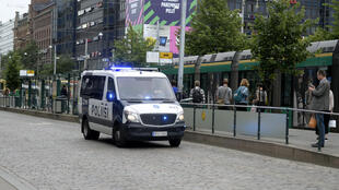 Cảnh sát Phần Lan tuần tra trên đường phố Turku sau vụ tấn công bằng dao ngày 18/08/2017.