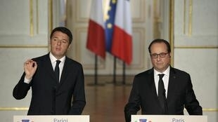 French President Francois Hollande (right) held talks Italian Prime Minister Matteo Renzi in Paris on Thursday.