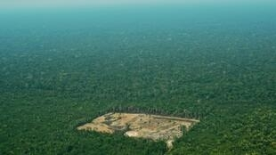 An aerial view from 2017 shows deforestation in the Western Amazon region of Brazil