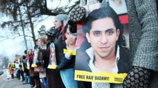 Manifestation de soutien à Raif Badawi devant l'ambassade d'Arabie saoudite à Helsinki en Finlande, en janvier 2015.