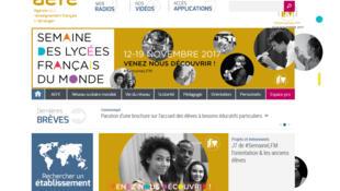 La page d'accueil de l'AEFE, qui a organisé sa première édition de la «Semaine des lycées français du monde»