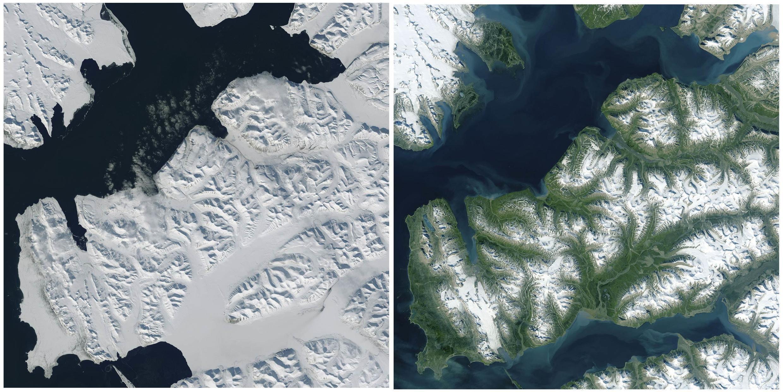 រូបថតអង្កការ Nasa បង្ហាញពីការរលាយទឹកកកនៅកោះ Svalbard នៅនរវែស ឆ្នាំ២០១៥។