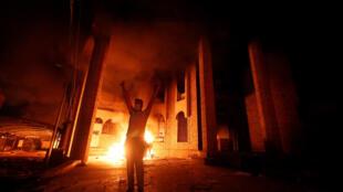 Le Consulat d'Iran à Bassora a été brulé par des manifestats, le 7 septembre 2018.